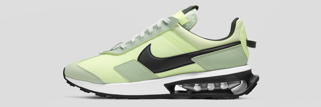 Nike Air Max day pre preday liquid lime green sustainable sneakers shoes unit sole expose bag outsole midsole grind rubber recycled materials polyester black white release information date 2021 march 26