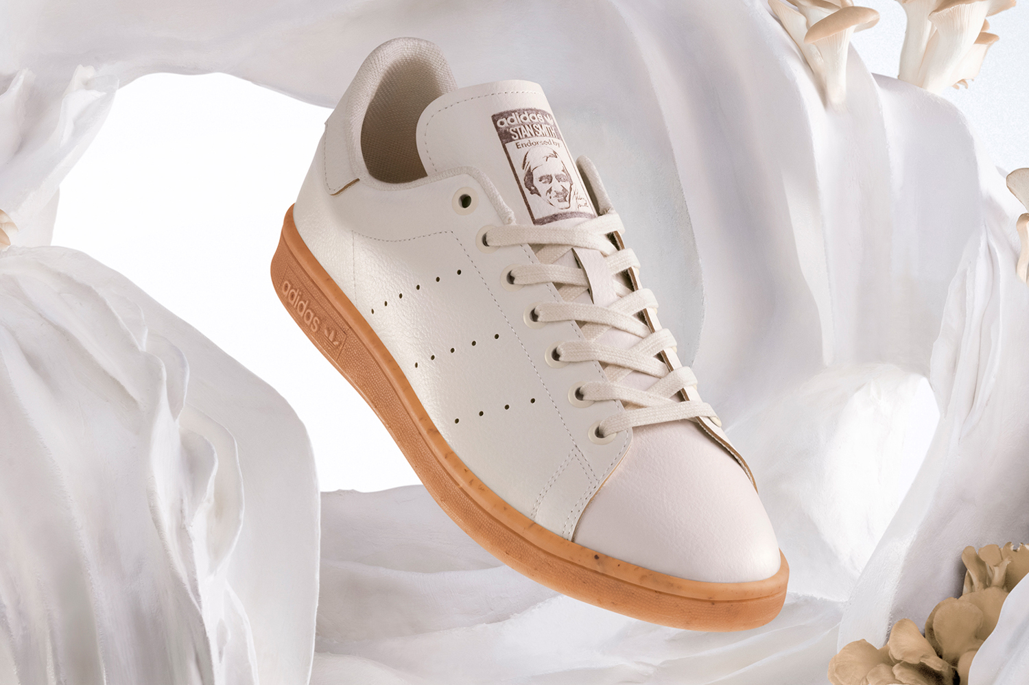 Adidas stan smith mylo bolt threads mushroom leather mycelium sneakers originals natural rubber vegan plant based material shoes