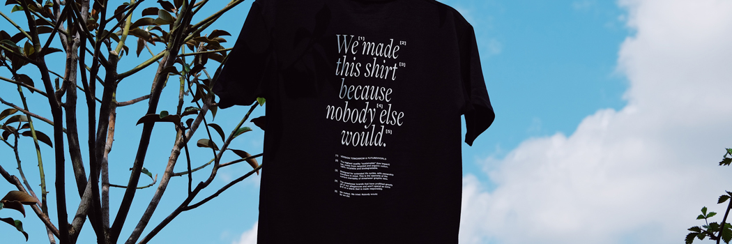 version tomorrow interview public school sustainable blanks Merch basics futurevvorld earth day t shirt tee Alan mak Dao Yi Chow Maxwell Osborne streetwear sustainability