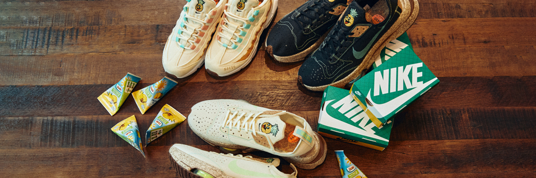 nike happy pineapple pinatex cork sneakers air force 1 air max 90 95 zoom type free trail run pack collection release Ananas Anam 94430 Coconut Milk Apricot Agate color ways black speckled shoes footwear leaf fibre fiber waste