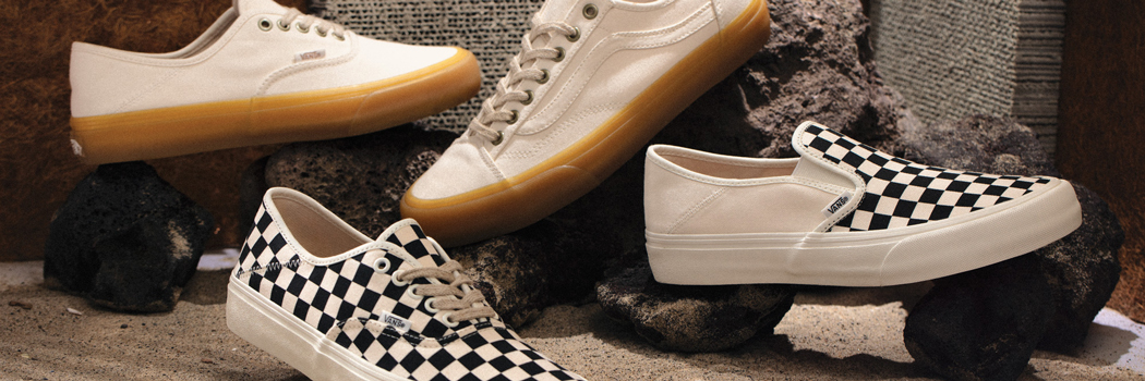 vans eco theory sneakers collection natural organic materials authentic slip on style 36 sustainable hemp jute laces cotton rubber shoes white black checker checkered checkerboard vegan