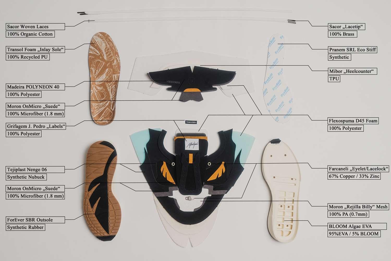 afew store goods yamasura soil sustainable sneaker release design materials info black brown white EVA Bloom Algae Midsole recycled natural organic Germany portgul handmade vegan