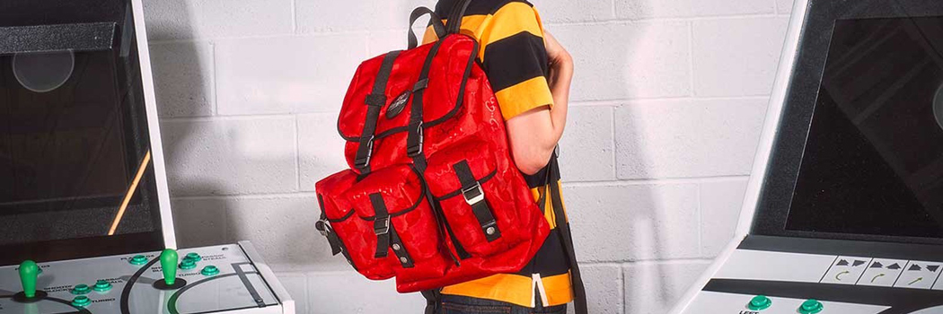 gucci 100 thieves off the grid econyl backpack red recycled materials esports gaming nylon leather sustainable eco organic bio based natural bag