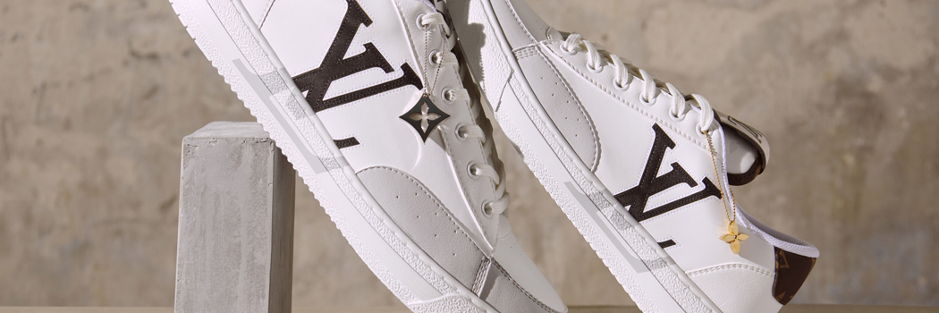Louis vuitton Charlie sneaker shoes sustainability recycled natural materials unisex Virgil abloh sustainable eco design conscious high low lv monogram econyl white brown