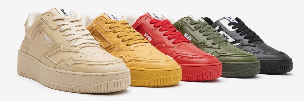 moea sneakers vegan sustainable fruits plants kickstarter fruit plant bio based peta approved recycled recyclable pineapple apple grape cactus corn crowdfunding Paris France