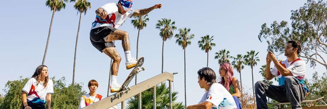 nike sb piet parra skateboarding federation kits tokyo olympics 2021 games skate jerseys uniforms shirts recycled polyester country Japan Brazil United States France Nyah Huston Paul rodriguez p rod