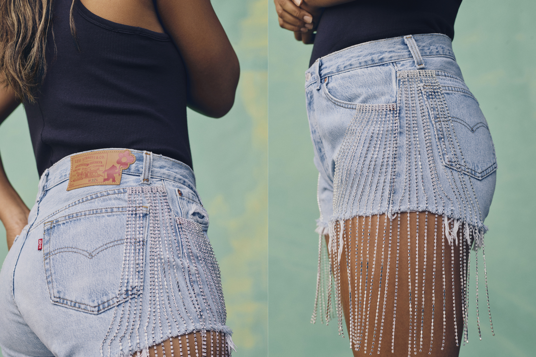 Naomi osaka levis denim collection vintage upcycled kimono shorts bustier jeans lace back trucker jacket crystal fringe fashion style clothing nike sneakers model tennis