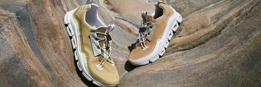 on cloudaway sneakers recycled materials vegan suede running boot sneaker hybrid travel Moccasin toggle pull cord CloudTec speedboard lookbook
