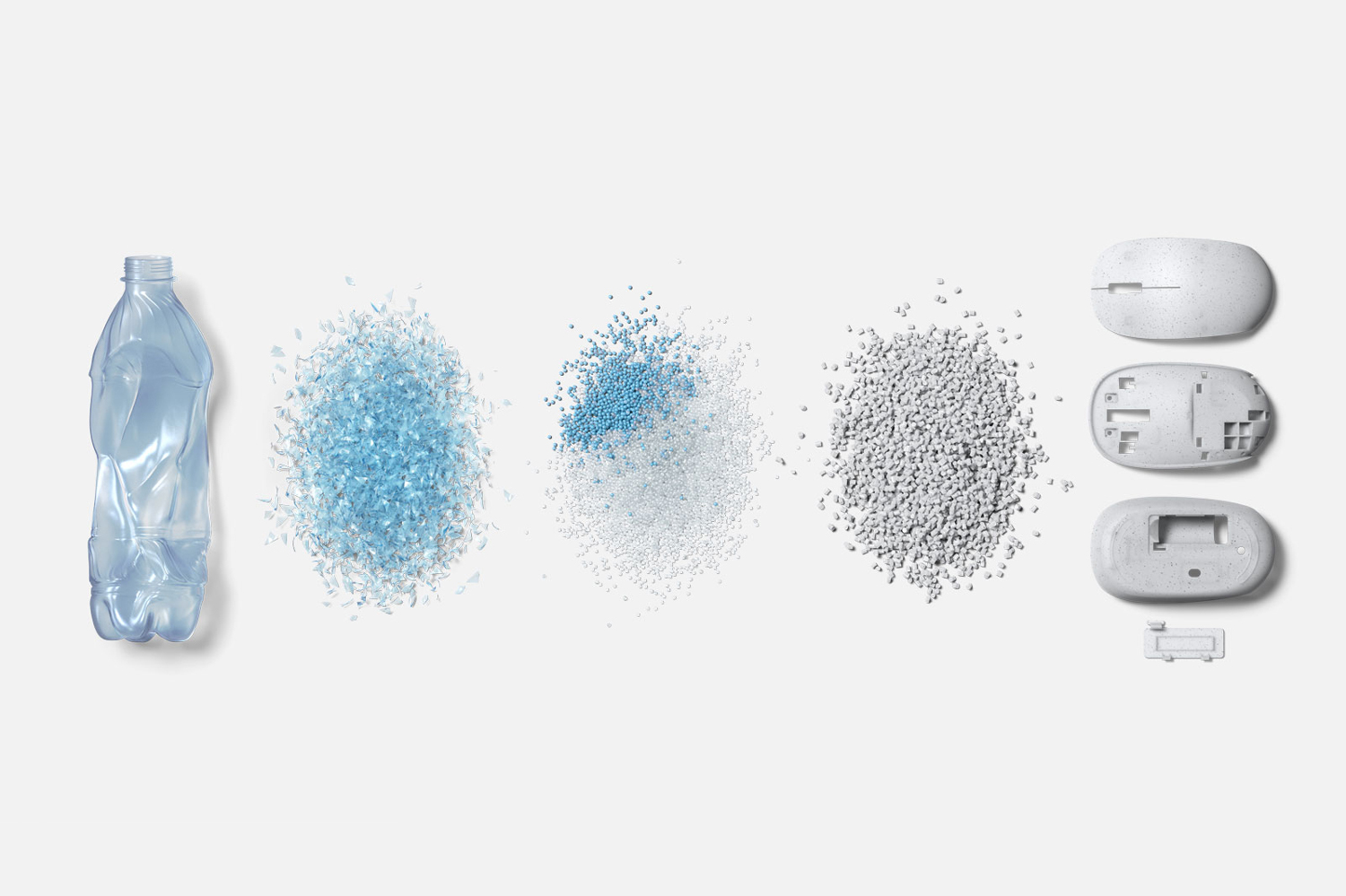 microsoft ocean plastic mouse recycled recycle white blue water sustainable zero waste packaging