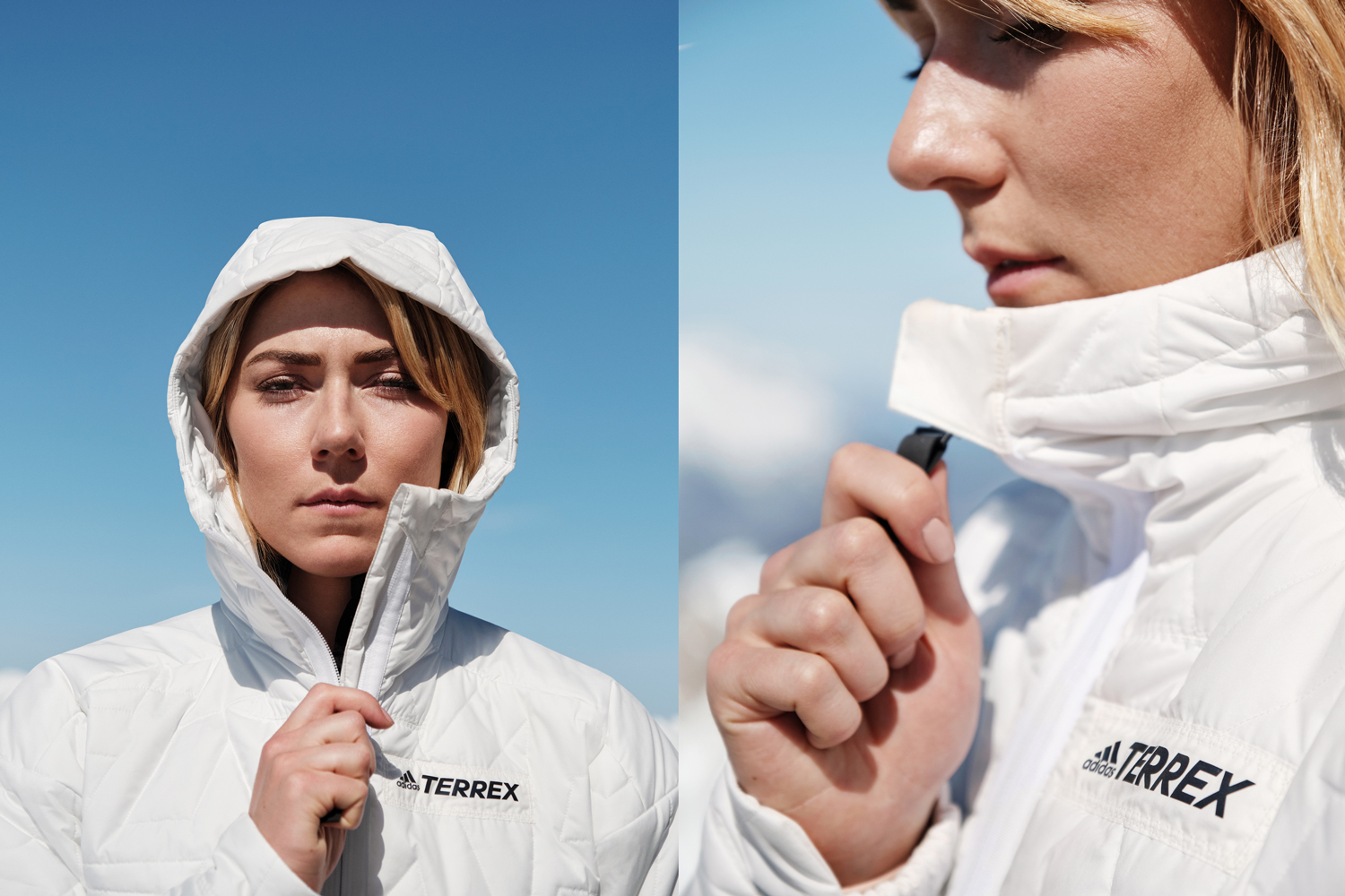 Adidas terrex myshelter primaloft hooded jacket parley ocean plastic hoodie hoody recycled materials end waste sustainability white womens mens outdoors