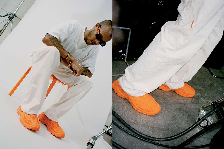 heron Preston zellerfeld heron01 3d printed recyclable sneaker mr Bailey orange black white mule slip on recycle vegan shoes